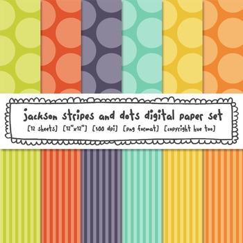 Polka Dots and Stripes Digital Backgrounds: Red, Orange, Y