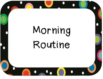 Colored Polka Dots on Black Morning Routine