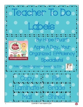 Polka Dotted Teacher To Do Labels by Apple A Day