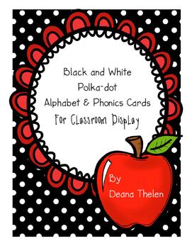 Polka-dot Alphabet and Phonics Cards for Classroom Display