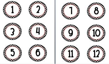 Polka dot circle number  2 1/2 in labels centers number line