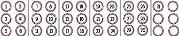 Polka dot circle number  3in labels centers number line