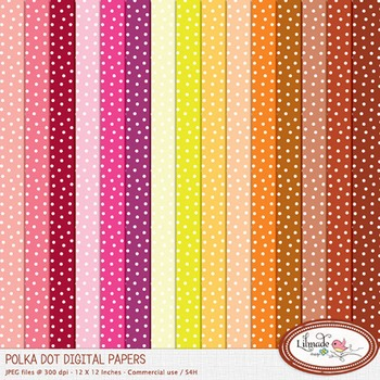 Polka dot digital paper, rainbow digital paper