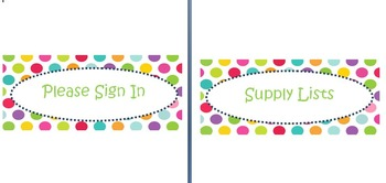Polka dot labels for open house (editable)