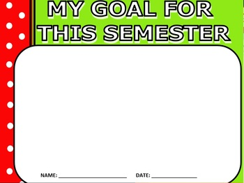 """Polka dots green and Red awesome """"goal of the Semester"""""""