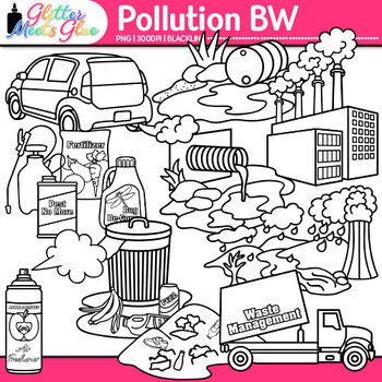 Pollution Clip Art {Conservation of Land, Water, & Air, Sc