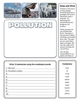 Pollution Write and Draw Activity