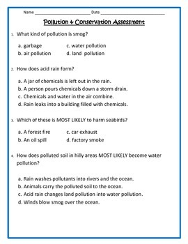 Pollution and Conservation Assessment
