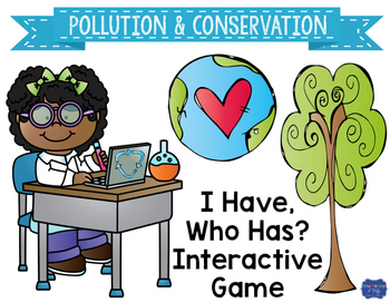 """Pollution and Conservation Interactive Vocabulary Game """"I"""
