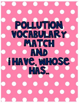Pollution vocabulary match