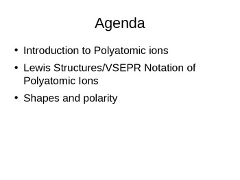 Polyatomic Ions and VSEPR Theory Lesson
