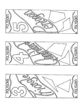 Polygon Bookmark 3 4 5 6 7 8 Sided Figure Coloring Page PD