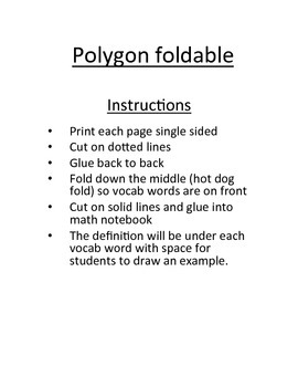 Polygon Vocabulary foldable