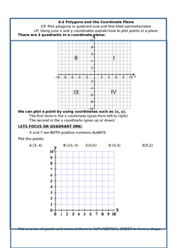 Polygons in the Coordinate Plane Notes
