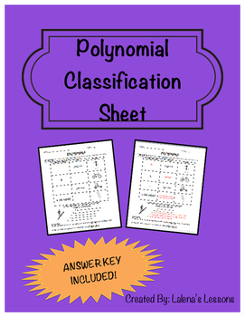 Polynomial Classification Sheet