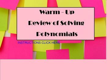 Polynomials Factors and Solving - Quick Review