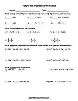 Polynomials Operation Worksheet