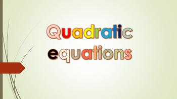 Polynomials-Quadratic Equations