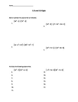Polynomials Quiz: Add, Subtract, Multiply, Mins, Maxes, X