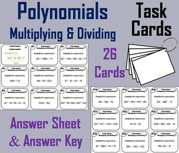 Multiplying and Dividing Polynomials Task Cards 6th 7th 8t