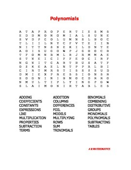 Polynomials Word Search