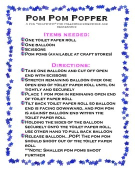 Pom Pom Popper Activity- Following directions and Sequenci