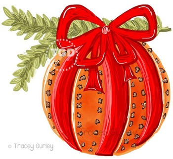 Pomander Holiday Orange and Clove with and without greener