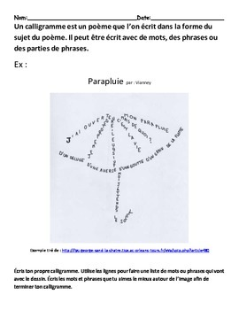 Poème-Les calligrammes (Shape poems)