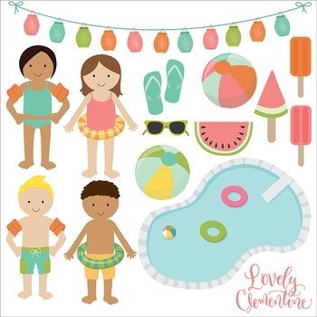 Pool party clip art, summer clipart, pool vector