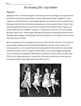 Pop Culture of the Roaring 1920's: Flappers & Jazz