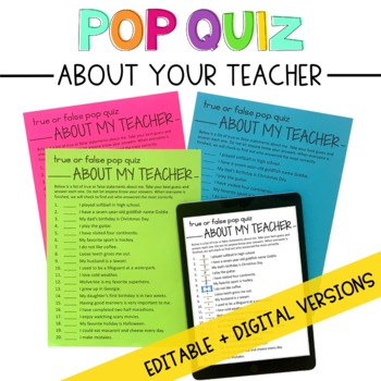 Pop Quiz About Your New Teacher: An Editable First Day of