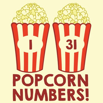 Popcorn Table or Cubby Numbers 1-31