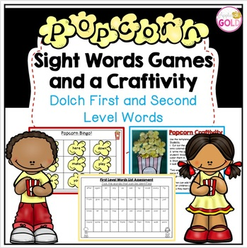 Popcorn Sight Words Games and Craftivity- Dolch 1st/2nd Level