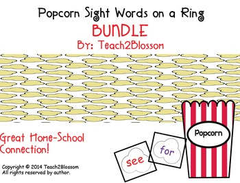 Popcorn Sight Words on a Ring BUNDLE