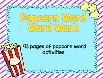 Popcorn Word- Word Work Sheets
