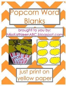 Popcorn Words - Blank Set