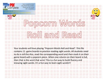 Popcorn Words Roll and Read