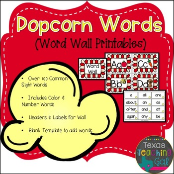Popcorn Words Word Wall Printables