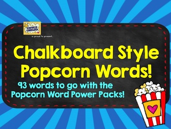 Popcorn Words: chalkboard style words for your wall to go