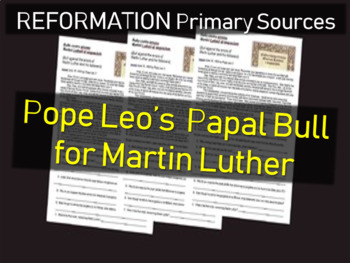 Pope Leo X - Papal Bull for Martin Luther: Primary Source