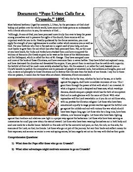 Pope Urban Calls for a Crusade