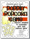 EDITABLE-Poppin' Popcorn Game Template {Sight Words, Lette