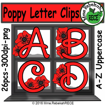 Remembrance Day Alphabet Clip Set Commercial and Personal Use