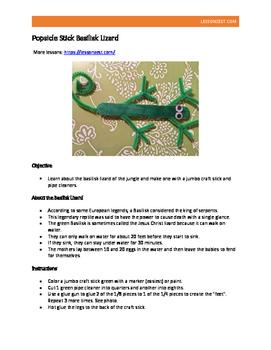 Popsicle Stick Basilisk Lizard