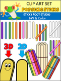 Popsicle Sticks Clip Art Set (Color and BW)