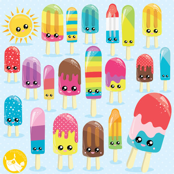 Popsicle clipart commercial use, vector graphics, digital