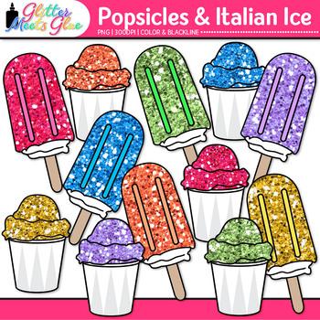 Rainbow Popsicle Clip Art {Glitter Treats to Teach Food Gr