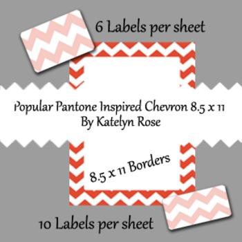 Popular Pantone Inspired Chevron Borders and Labels 8.5 x 11