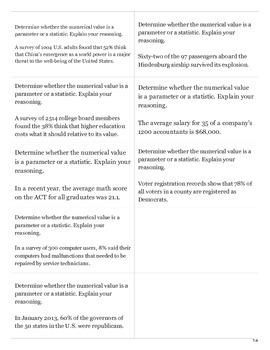 Parameter vs. Sample Flashcards