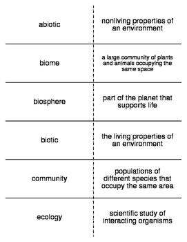 Populations to the Biosphere Flash Cards for Middle School